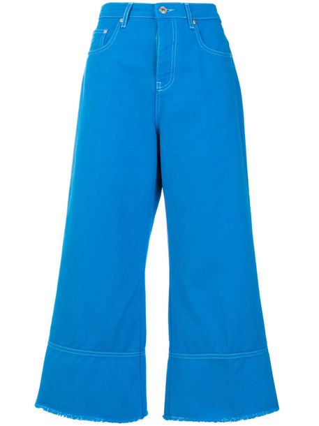 MSGM jeans flare jeans flare cropped women cotton blue