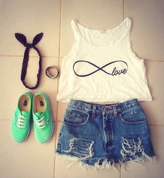 infinity ring jeans top white top denim denim shorts ripped shorts vans green vans outfit style trendy popular infinity summer outfits summer top jewery tank top white tank top white summer top infinity short top hat t-shirt white blouse shirt white with black infinity sign