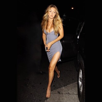 dress grey model off-duty gigi hadid grey dress short dress celebrity trendy shoes edgy slit slit dress bodycon bodycon dress party dress sexy party dresses sexy sexy dress party outfits summer dress summer outfits classy dress elegant dress cocktail dress cute cute dress girly dress girly date outfit birthday dress summer holidays clubwear club dress gigi hadid style gigi hadid dress celebrity style celebstyle for less