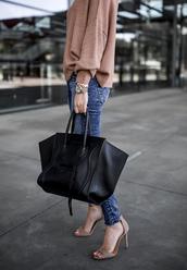 krystal schlegel,blogger,sweater,shoes,jeans,tumblr,sandals,sandal heels,high heel sandals,nude sandals,nude sweater,denim,blue jeans,bag,black bag