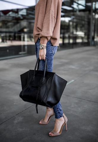 krystal schlegel blogger sweater shoes jeans tumblr sandals sandal heels high heel sandals nude sandals nude sweater denim blue jeans bag black bag