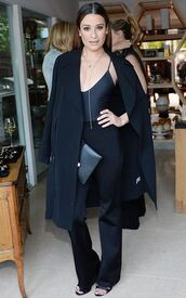 top,pants,coat,lea michele,sandals,all black everything,spring outfits,shoes