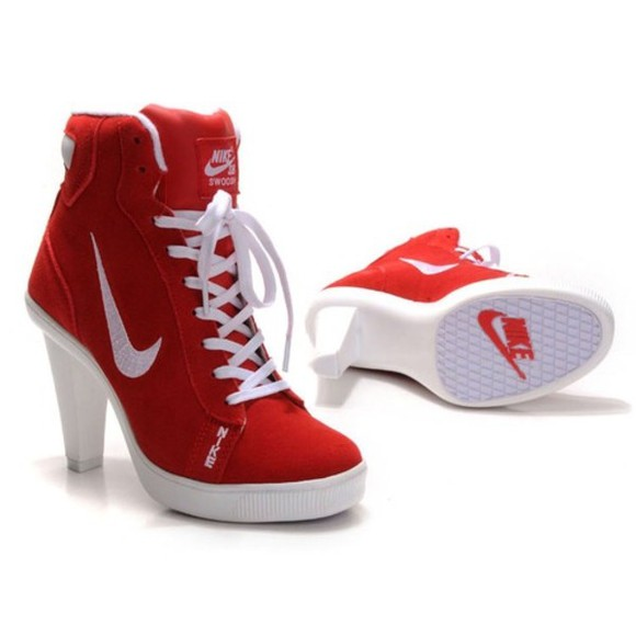 shoes high heels medium heels cute red nike cool sportswear sporty style lovely wanted chick