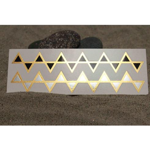 Gold, Silver & Black Triangle Fashion Tats Bracelets