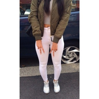 pants white white jeans high waisted jeans tumblr outfit tumblr tumblr clothes jacket army green jacket blouse coat