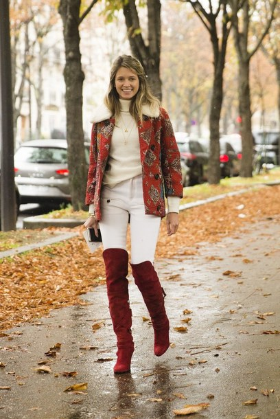 shoes white turtleneck sweater red print jacket white jeans red over knee boots blogger