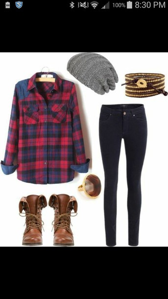 shirt bracelets jeans boots ring
