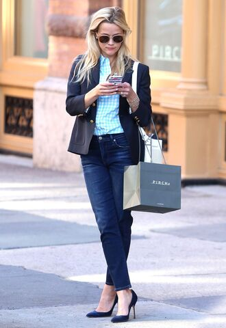 shirt blazer office outfits reese witherspoon pumps jeans sunglasses blue shirt plaid shirt