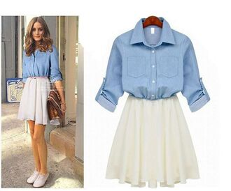 dress denim cute summer white blue kawaii skater dress long sleeves adorable outfit fall outfits girly feminine