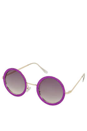 Large glitter round sunglasses