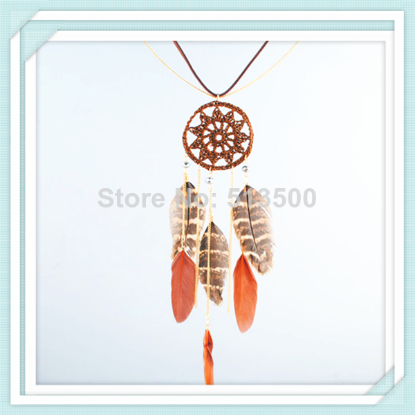 Hot selling f rever21 necklace feather long design tassel Necklace Indian Feather Dream Catcher Necklaces-inPendant Necklaces from Jewelry on Aliexpress.com