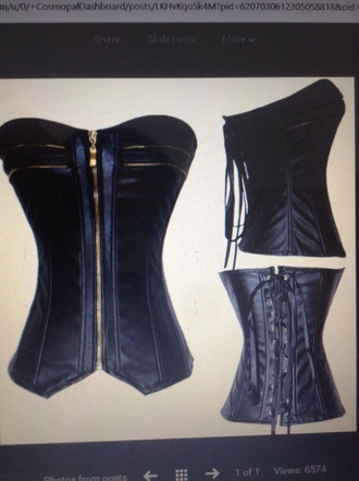 underwear black top black shirt corset top leather gold zipper