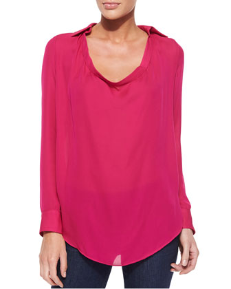 Haute Hippie Collared Cowl-Neck Blouse, French Kiss