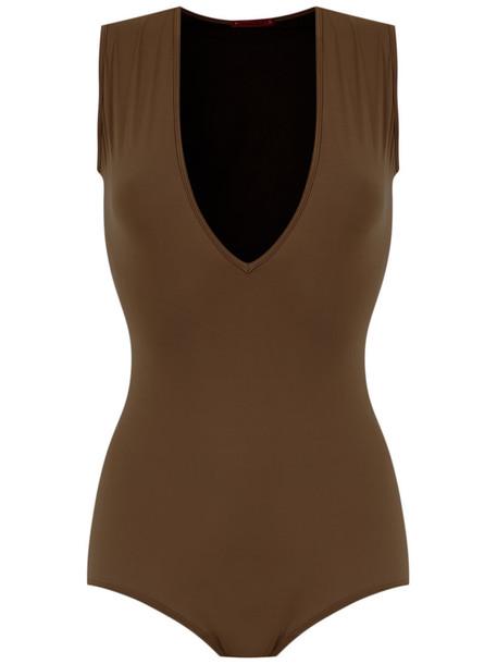À La Garçonne À La Garçonne - V-neck bodysuit - women - Cotton/Polyamide/Spandex/Elastane - G, Brown, Cotton/Polyamide/Spandex/Elastane