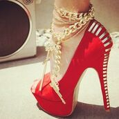 shoes,heels,sexy,red,liliana,stilettos,ankle bracelet,gun,high heel pumps,jewels,anklet,ankle jewelry,gold