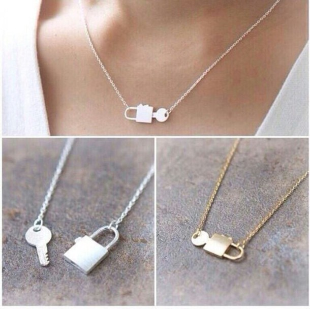Jewels necklace cute lock fashion jewelry girly bff silver jewels necklace cute lock fashion jewelry girly bff silver gold love kawaii pendant bracelets ring wheretoget aloadofball Image collections