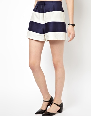 ASOS | ASOS High Waisted Shorts in Wide Stripe at ASOS