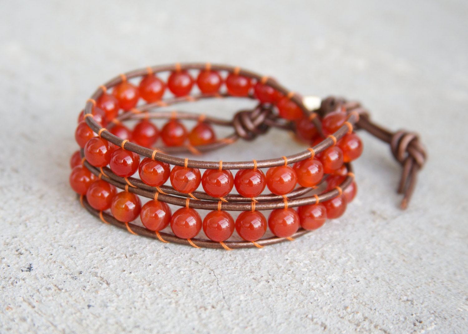 Red Leather Wrap Bracelet Carnelian beads and Brown Leather / red beads, gift for her / brown leather / wrap around bracelet / double wrap