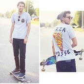 bobby raffin,shoes,menswear,pizza,skater,mens t-shirt
