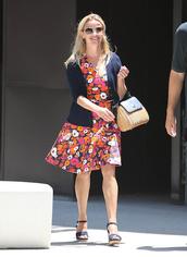thebudgetbabe,blogger,dress,cardigan,sweater,shoes,bag,sunglasses,jewels,floral dress,blue jacket,mini bag,mini dress,red dress,flats,round sunglasses