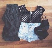 shirt,jeans,shoes,jacket,t-shirt,jewels,polka dots,crop tops,ankle boots,black jacket
