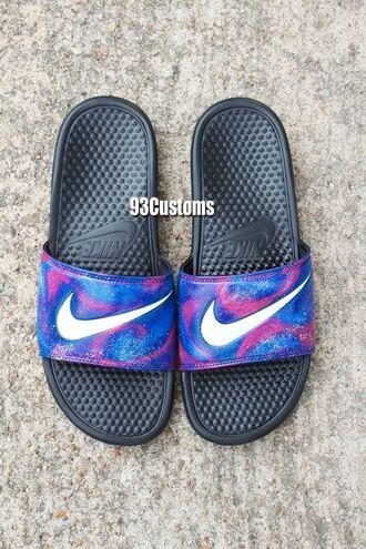 shoes nike nike slides galaxy print