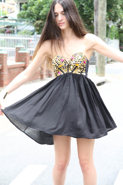 Sabo skirt  black jewel dress