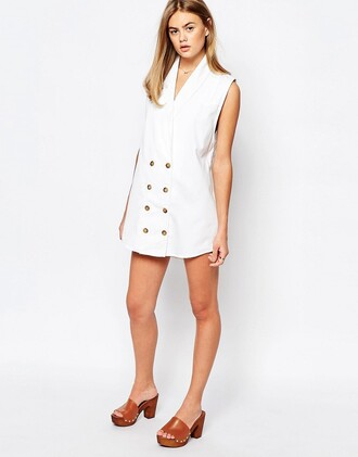 dress double breasted button up mini dress white dress