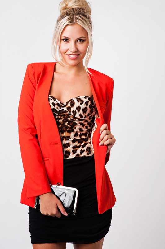 Collarless polka dot lined red blazer