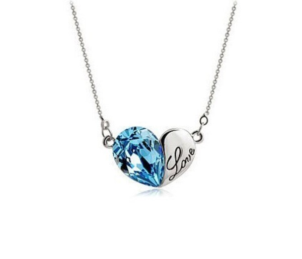 jewels necklace blue heart rhinestones