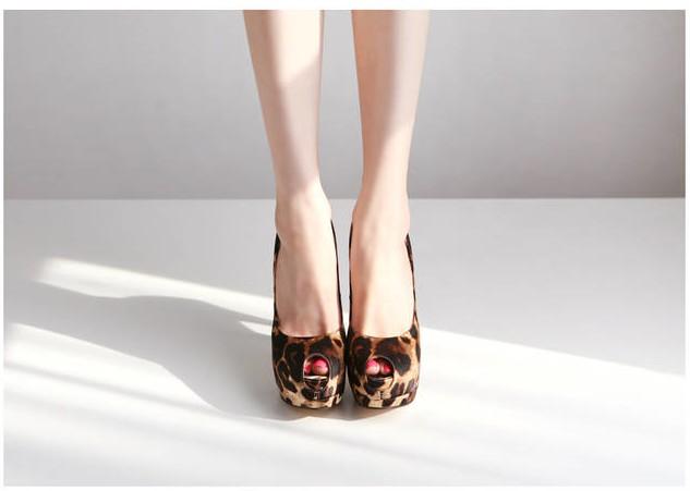 Wholesale Platform peep toe shoes leopard generous fashion for party CZ-4928 - Lovely Fashion