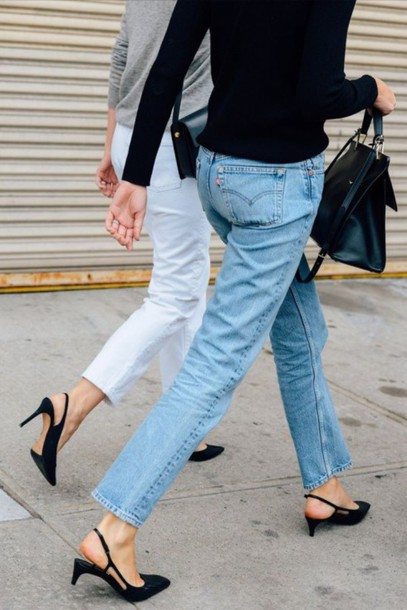 shoes kitten heels tumblr slingbacks mid heel sandals black sandals jeans denim blue jeans white jeans bag black bag handbag theclosetheroes blogger