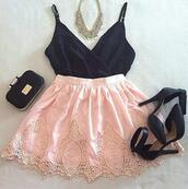 skirt,high heels,top,necklace,bag,pink lace skirt,skater,skater skirt,pink,black tank top,black crop top,shirt,blouse,heels,cropped