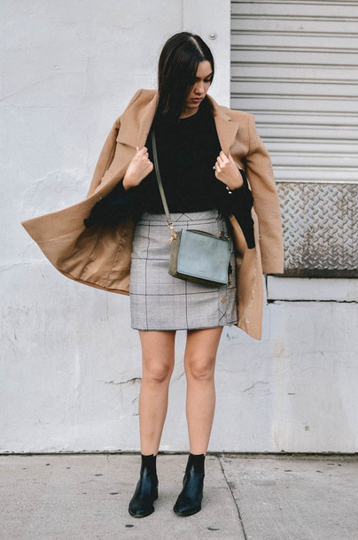 goldenswank blogger skirt top coat shoes bag fall outfits beige coat crossbody bag grey skirt ankle boots
