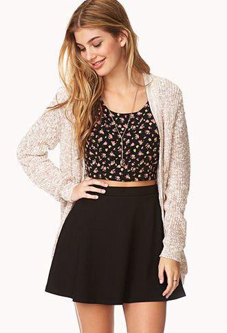 top skirt cardigan floral flowers tank top shirt skater skirt crop tops