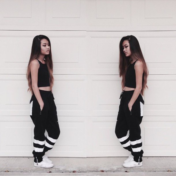 pants black and white pants