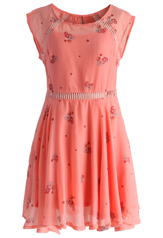 dress delicate floret eyelet dress in peach chicwish peach dress summer dress delicate dress eyeletdress