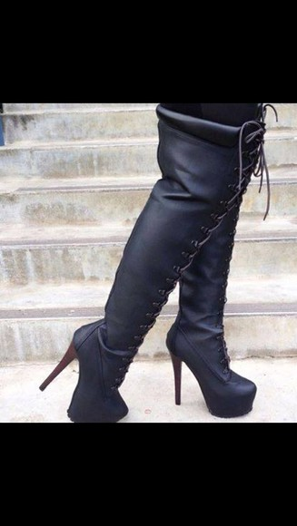 shoes lace up thigh high boots little black boots black lace up boots black over the knee lace up boots lace up heels black high heel boots