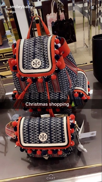 bag red blue white bag and pursee
