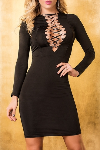 dress sexy black dress lace up zaful clubwear date outfit little black dress strappy fall outfits dressy fashion style elegant party long sleeves femme fatale midi dress bodycon dress clothes cleavage
