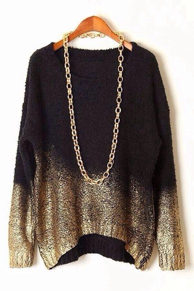 black soft sweater gold cozy ombre chains