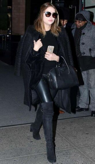 pants boots all black everything over the knee boots ashley benson sunglasses coat top