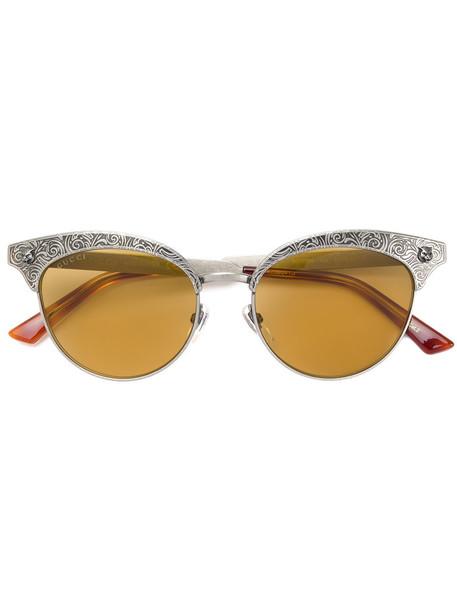 Gucci Eyewear - engraved round sunglasses - women - Acetate/metal - 52, Grey, Acetate/metal in metallic