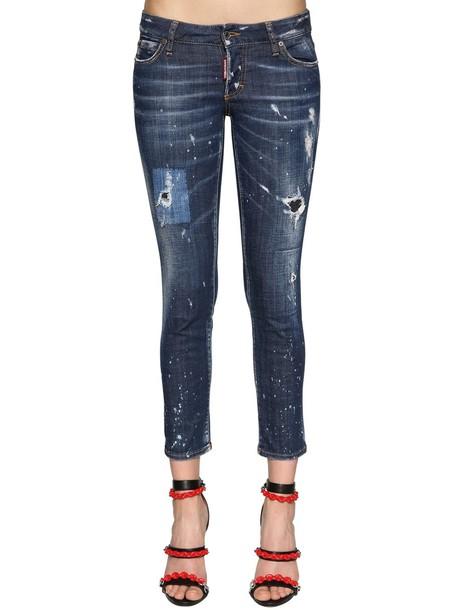 DSQUARED2 Jennifer Cropped Cotton Denim Jeans in blue