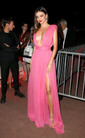 dress,gown,plunge v neck,pink,prom dress,miranda kerr,sandals,cannes,slit dress