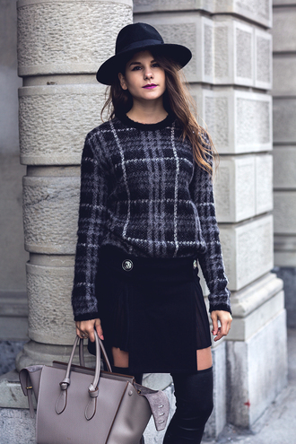 the fashion fraction blogger sweater skirt shoes bag hat