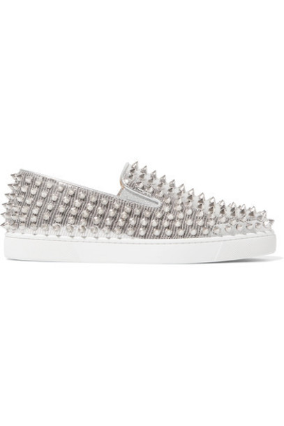 christian louboutin metallic sneakers silver leather shoes
