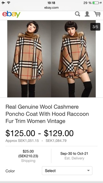 coat vintage poncho ebay wool coat fur coat