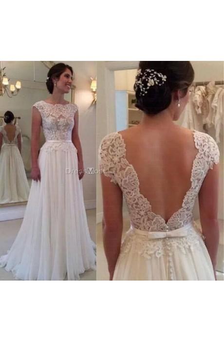 Elegant chiffon scoop white wedding dress