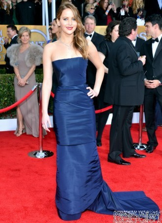 Jennifer Lawrence Navy Blue Strapless Prom Dresses 2014 at the 19th Annual Screen Actors Guild Awards-in Prom Dresses from Apparel & Accessories on Aliexpress.com